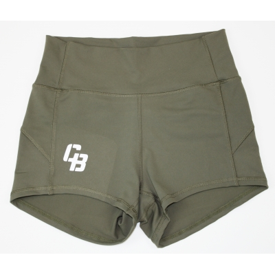 Booty Short Hoge Taille Olive