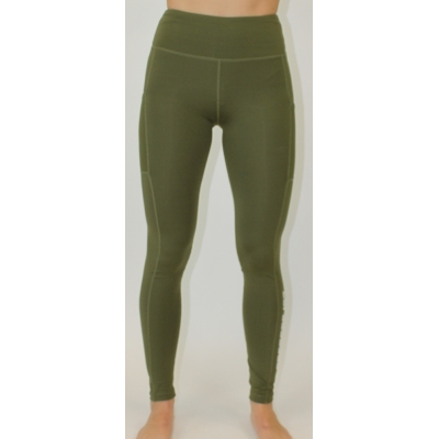 Women's performance legging Olive with phone pocket