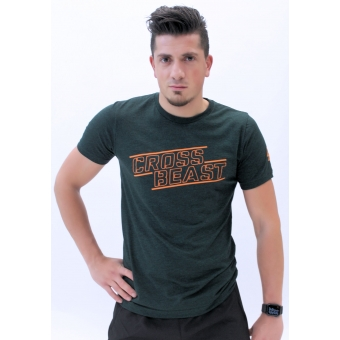 Men's T-Shirt Dark Green/Orange
